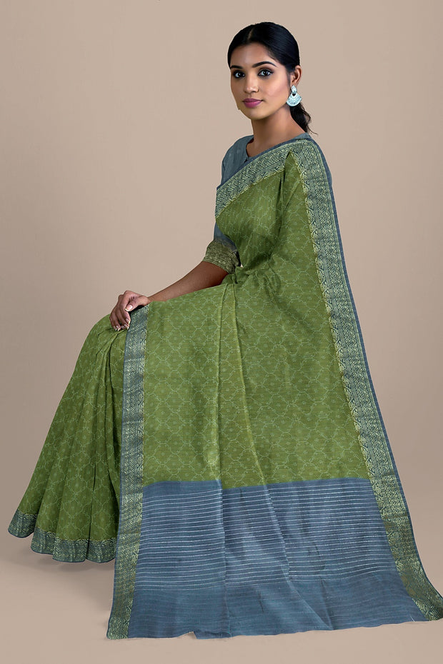 SIGNORAA OLIVE GREEN TUSSAR SILK SAREE-PTS04691- Model View 2