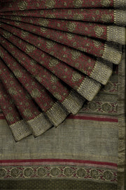 SIGNORAA MAROON TUSSAR SILK SAREE-PTS04698- Cover View