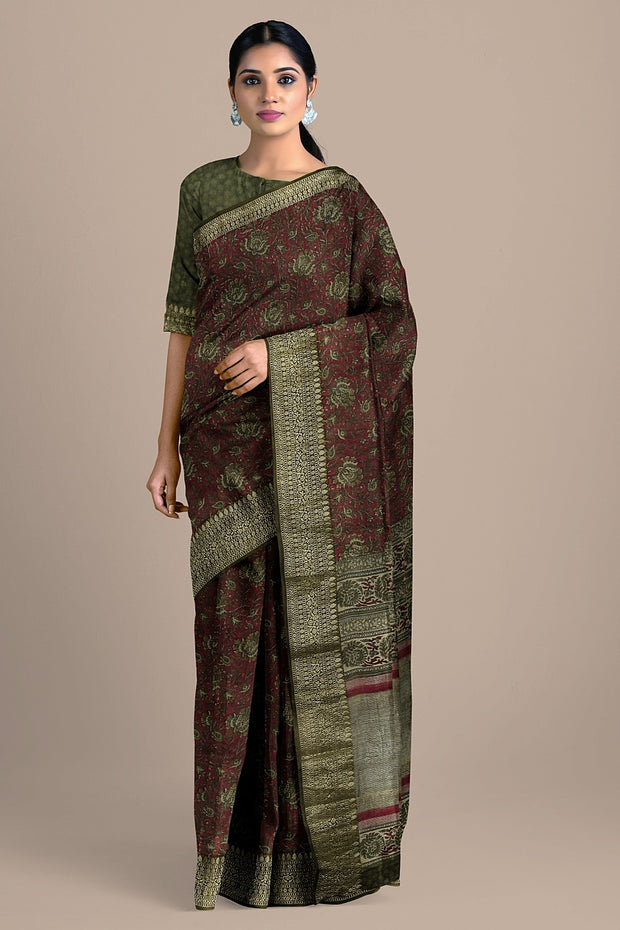 SIGNORAA MAROON TUSSAR SILK SAREE-PTS04698- Model View