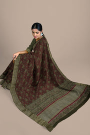SIGNORAA MAROON TUSSAR SILK SAREE-PTS04698- Model View 2