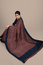 SIGNORAA MAROON TUSSAR SILK SAREE-PTS04705A- Model View 2