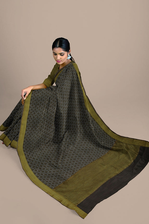 SIGNORAA BROWN TUSSAR SILK SAREE-PTS04705- Model View