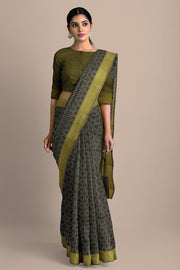 SIGNORAA BROWN TUSSAR SILK SAREE-PTS04705- Model View 2