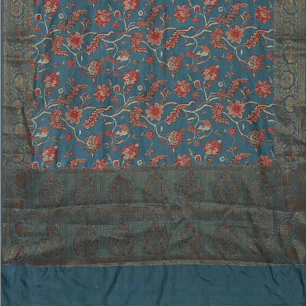 SIGNORAA GREYISH BLUE TUSSAR SILK SAREE-PTS04737- Full View