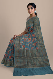 SIGNORAA GREYISH BLUE TUSSAR SILK SAREE-PTS04737- Model View 2