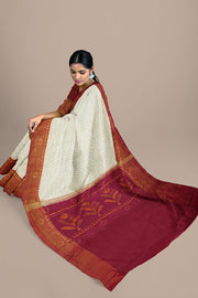 SIGNORAA WHITE RAJKOT PATOLA SILK SAREE-RPT00721- Model View 2