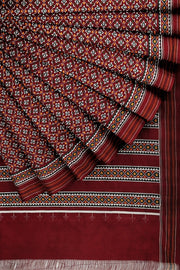 SIGNORAA MAROON SINGLE IKAT SILK SAREE-RPT00743- Cover View