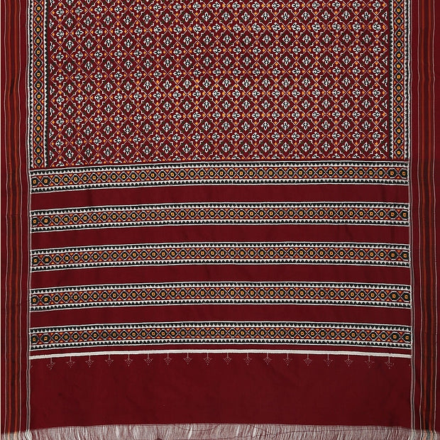 SIGNORAA MAROON SINGLE IKAT SILK SAREE-RPT00743- Full View