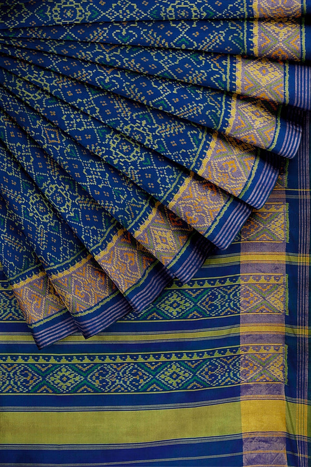 SIGNORAA BLUE RAJKOT PATOLA SILK SAREE-RPT00754- Cover View 2