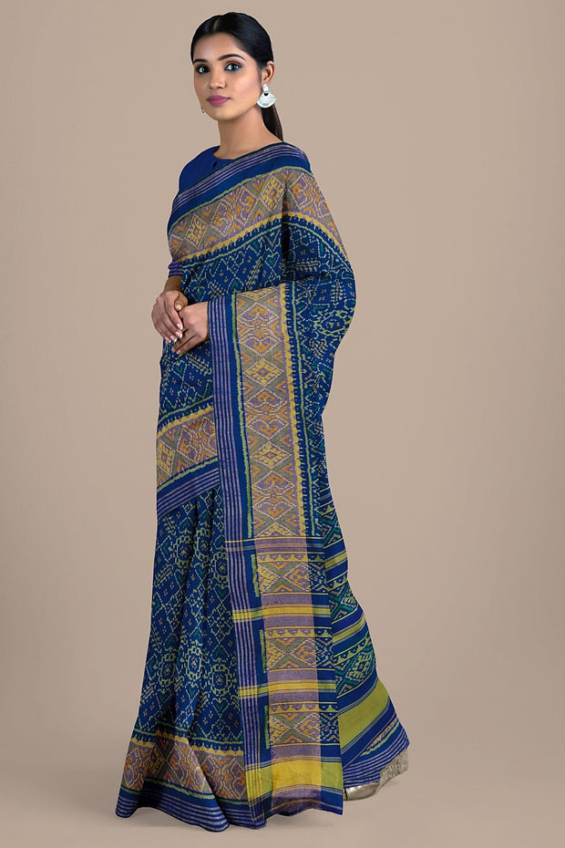 SIGNORAA BLUE RAJKOT PATOLA SILK SAREE-RPT00754- Cover View