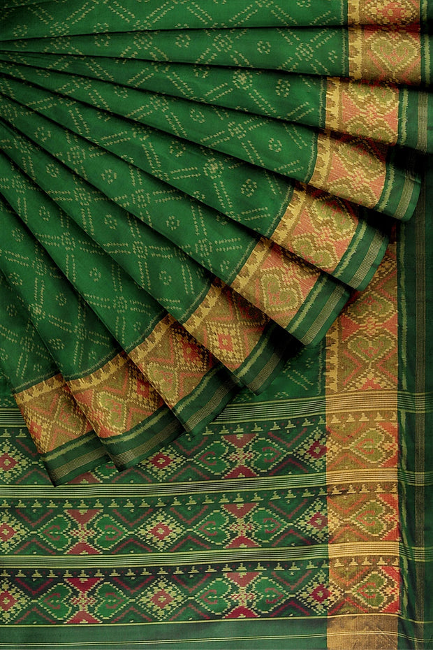 SIGNORAA BOTTLE GREEN RAJKOT PATOLA SILK SAREE-RPT00765- Cover View