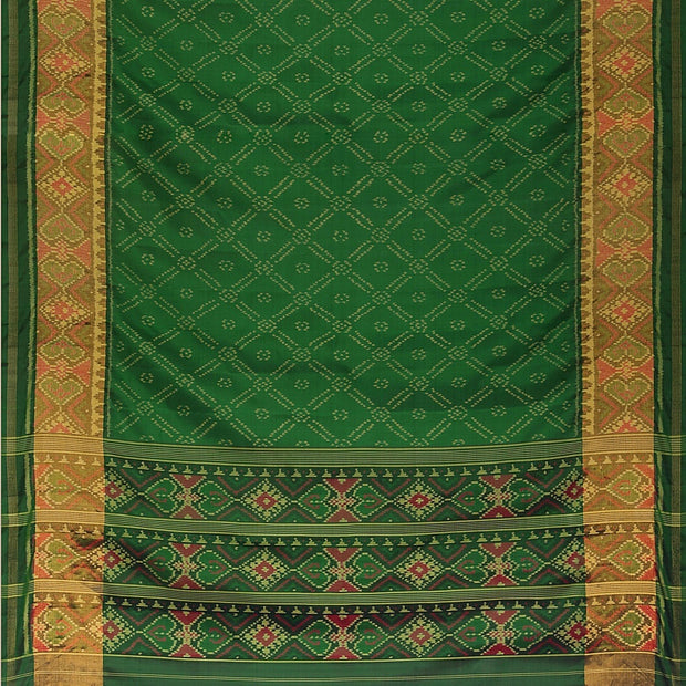 Signoraa Bottle Green Rajkot Patola Silk Saree-RPT00765