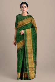 SIGNORAA BOTTLE GREEN RAJKOT PATOLA SILK SAREE-RPT00765- Model View
