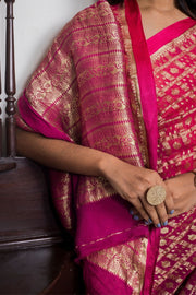 SIGNORAA RANI PINK BANARASI GEORGETTE SILK SAREE-CHG03698- Model View 2