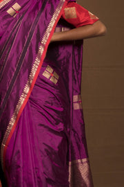 SIGNORAA PURPLE BANARASI SILK SAREE-BSK08949- Model View 1