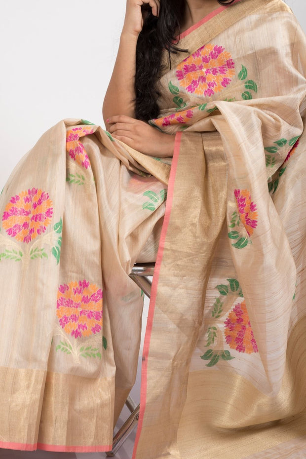SIGNORAA BEIGE BANARASI TUSSAR SILK SAREE-BSK08871- Model View
