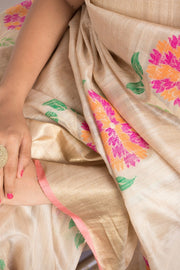 SIGNORAA BEIGE BANARASI TUSSAR SILK SAREE-BSK08871- Model View1