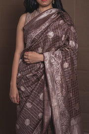 SIGNORAA BROWN BANARASI TUSSAR SILK SAREE-PTS04725- Model View