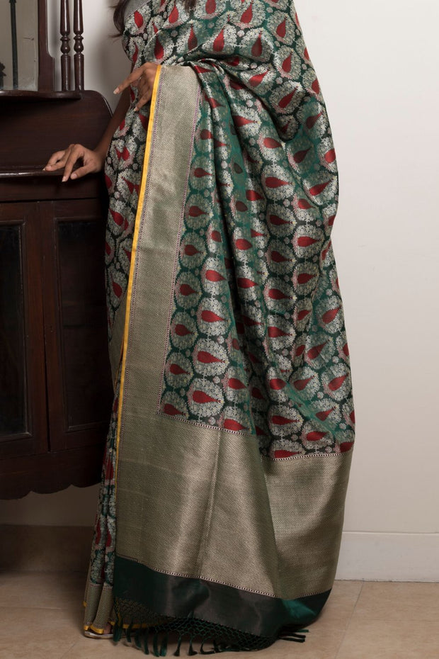 SIGNORAA BOTTLE GREEN BANARASI SATIN SAREE-BSK08741- VIEW 2