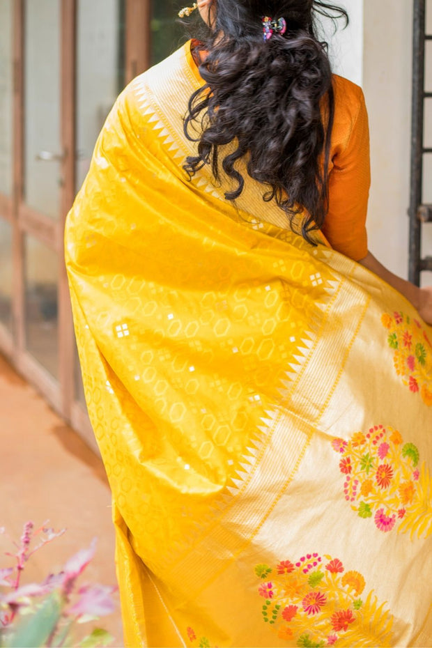 SIGNORAA MUSTARD BANARASI SILK SAREE-BSK08747- Model View 1