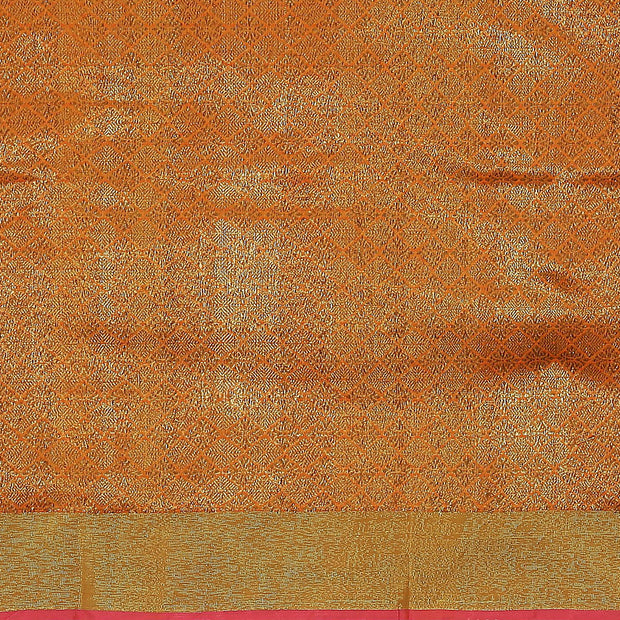 SIGNORAA ORANGE BANARASI COTTON SAREE-BSK08181- Blouse View