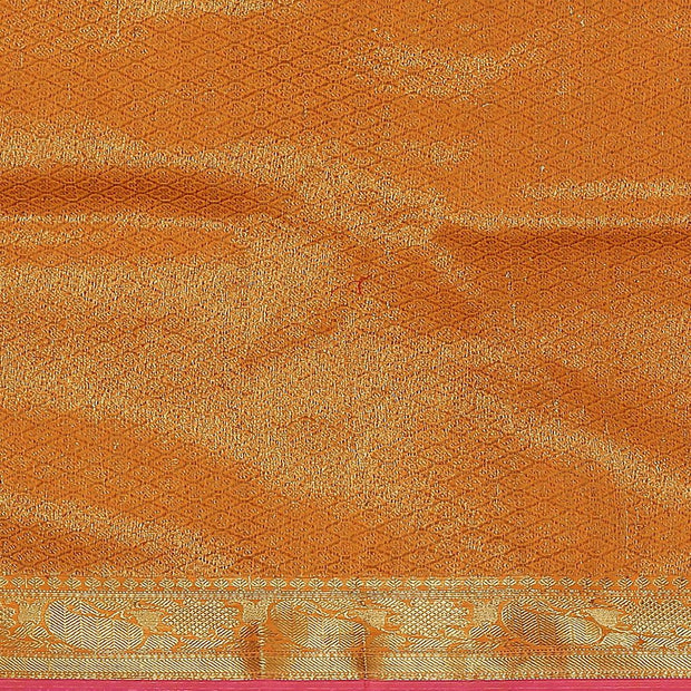 SIGNORAA ORANGE BANARASI COTTON SAREE-BSK08768- Blouse View