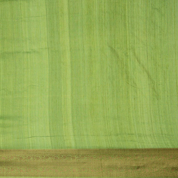 SIGNORAA LIGHT GREEN BANARASI TUSSAR SILK SAREE-BSK08402- blouse View