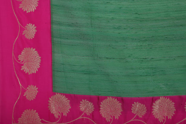 SIGNORAA BOTTLE GREEN BANARASI TUSSAR SAREE-BSK08958- Design View