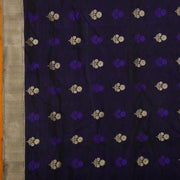 SIGNORAA NAVY BLUE BANARASI SATIN SAREE-BSK08046- Design View