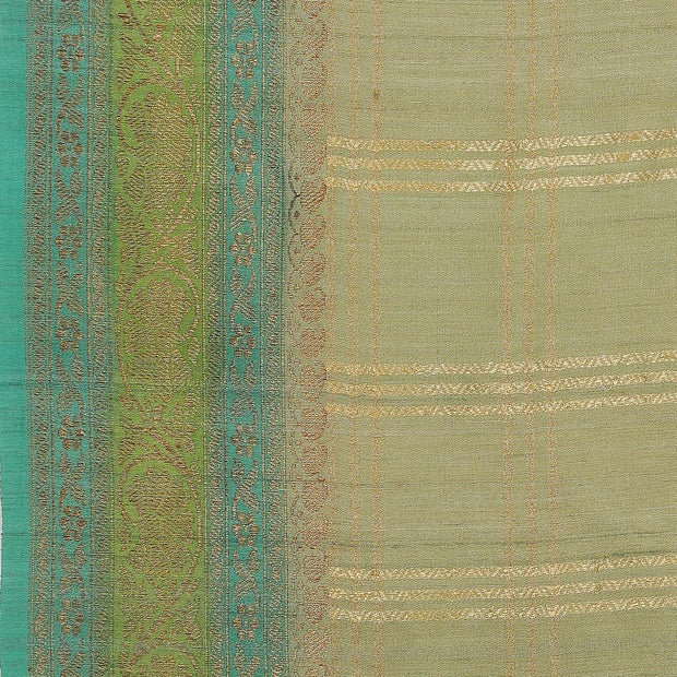 SIGNORAA PALE GREEN BANARASI TUSSAR SILK SAREE-BSK08873- Design View