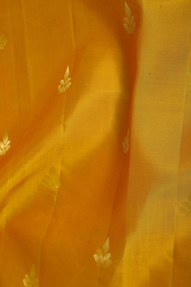 SIGNORAA MUSTARD KANCHIPURAM SOFT SILK SAREE-KSL02605- Design View