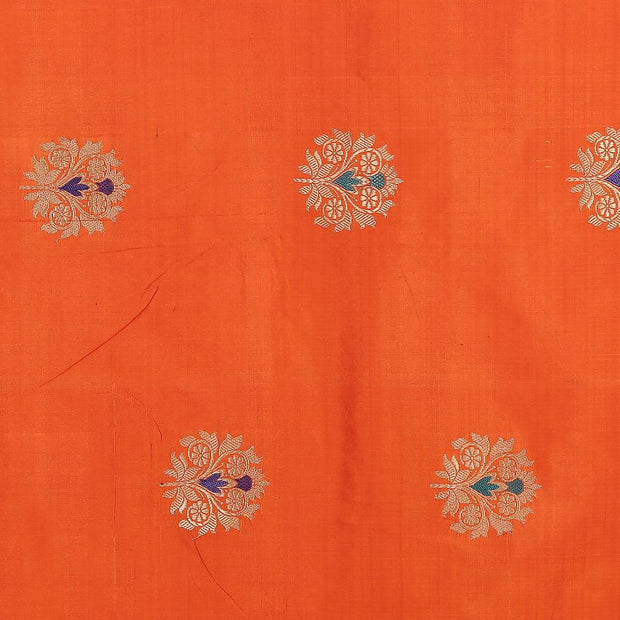 SIGNORAA ORANGE BANARASI SILK SAREE-BSK08929- Motif View