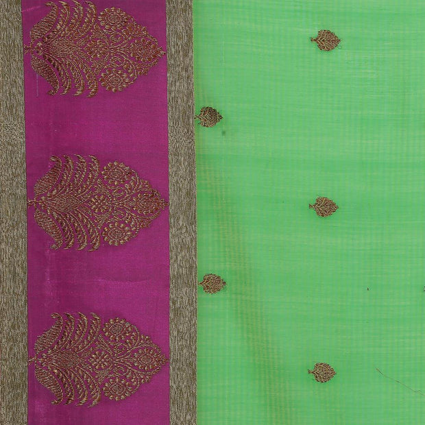 SIGNORAA GREEN BANARASI COTTON SAREE-BSK08797- Design View
