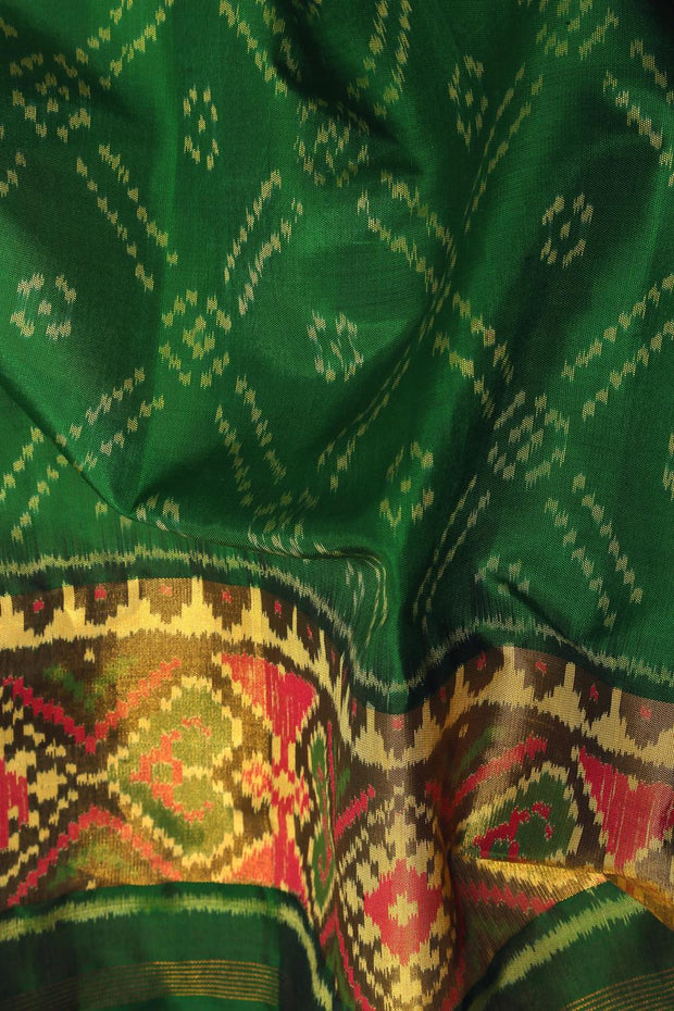 SIGNORAA BOTTLE GREEN RAJKOT PATOLA SILK SAREE-RPT00765- Design View