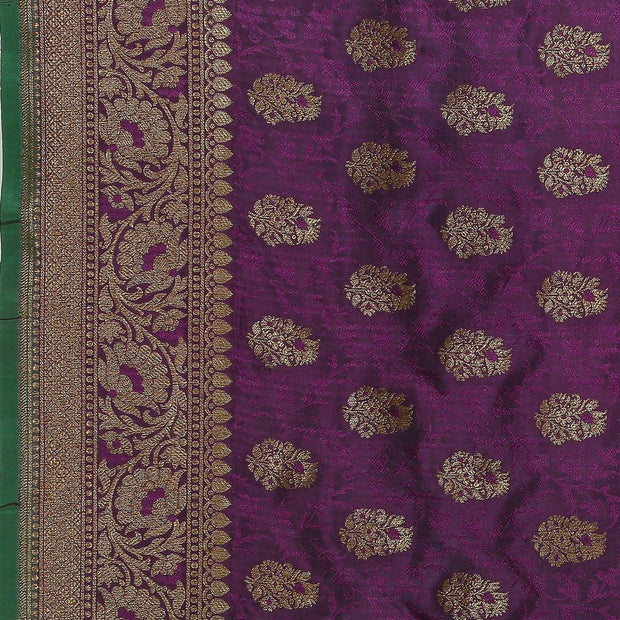 SIGNORAA PURPLE BANARASI TANCHOI SILK SAREE-BSK09033- Design View