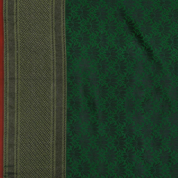 SIGNORAA PEACOCK GREEN BANARASI SILK SAREE-BSK09032- Design View