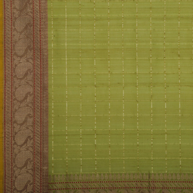 SIGNORAA OLIVE GREEN BANARASI SILK SAREE-BSK09080A- Design View