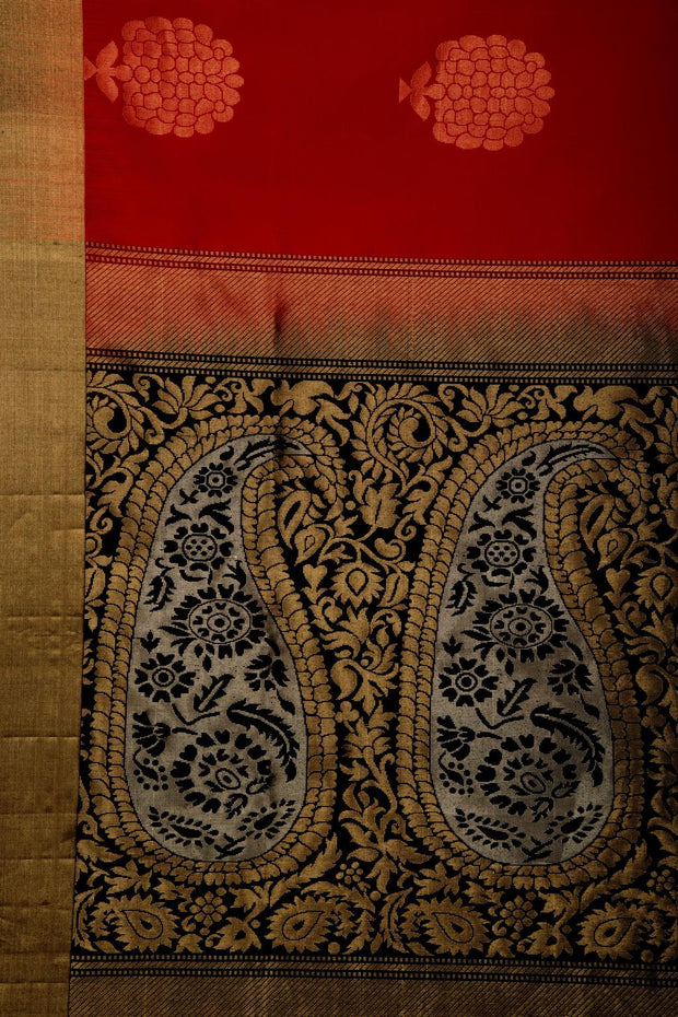 SIGNORAA RED KANCHIPURAM SILK SAREE-KSL02539- Design View