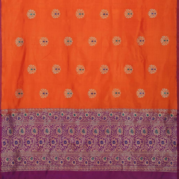 SIGNORAA ORANGE BANARASI SILK SAREE-BSK08929- Full View