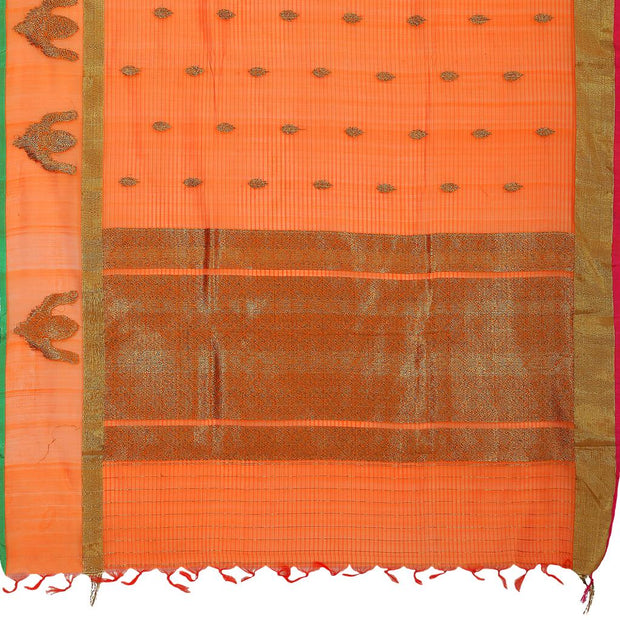 SIGNORAA ORANGE BANARASI COTTON SAREE-BSK08181- Full View