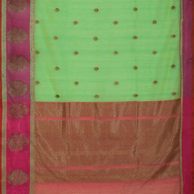 SIGNORAA GREEN BANARASI COTTON SAREE-BSK08797- Full View