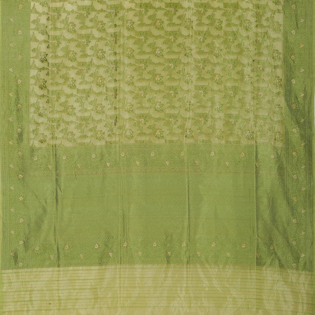 SIGNORAA GREEN BANARASI SILK SAREE-BSK09022- Full View