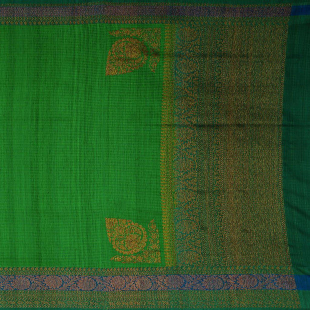 SIGNORAA GREEN BANARASI TUSSAR SAREE-BSK08155- Full View