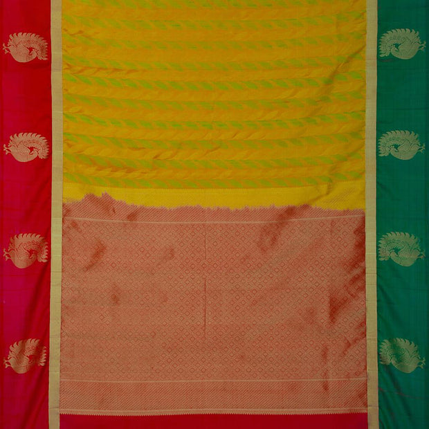 SIGNORAA MUSTARD KANCHIPURAM SILK SAREE-KSL02604- Full View