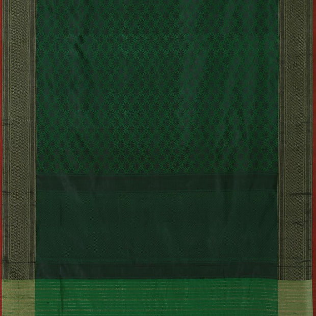 SIGNORAA PEACOCK GREEN BANARASI SILK SAREE-BSK09032- Full View