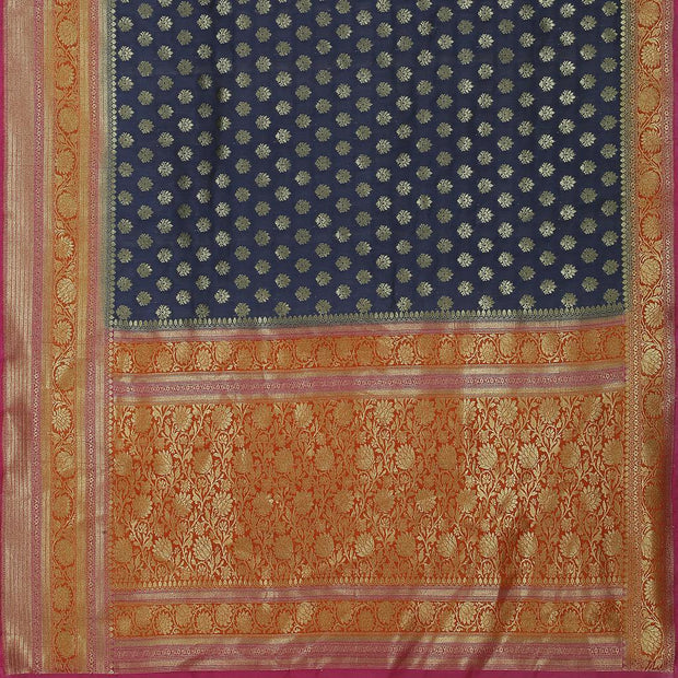 SIGNORAA NAVY BLUE BANARASI TUSSAR SAREE-BSK08846- Full View