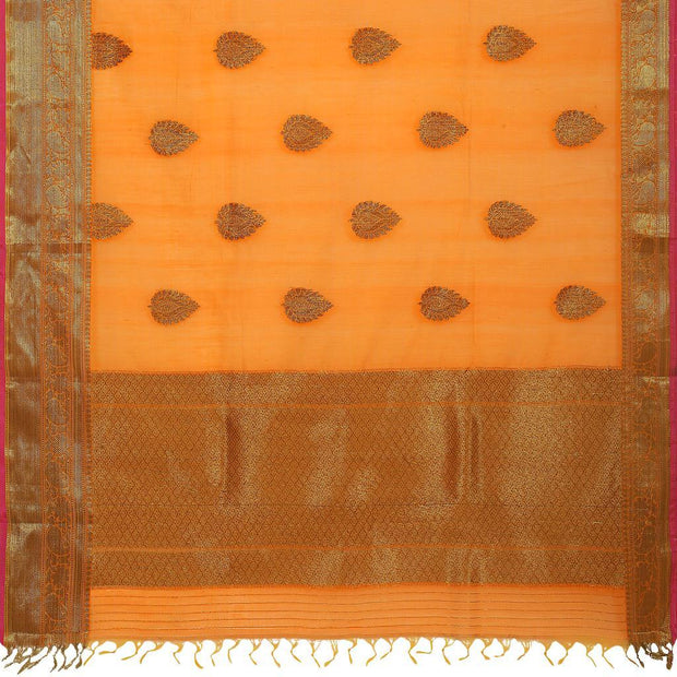 SIGNORAA ORANGE BANARASI COTTON SAREE-BSK08768- Full View
