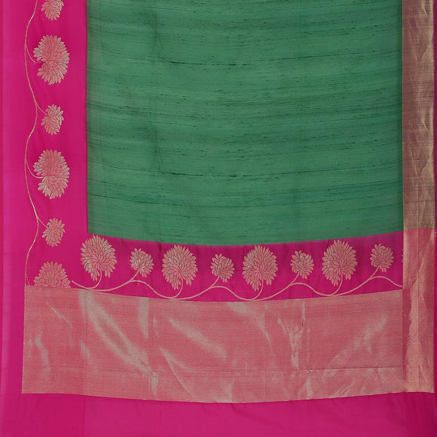 SIGNORAA BOTTLE GREEN BANARASI TUSSAR SAREE-BSK08958- Full View