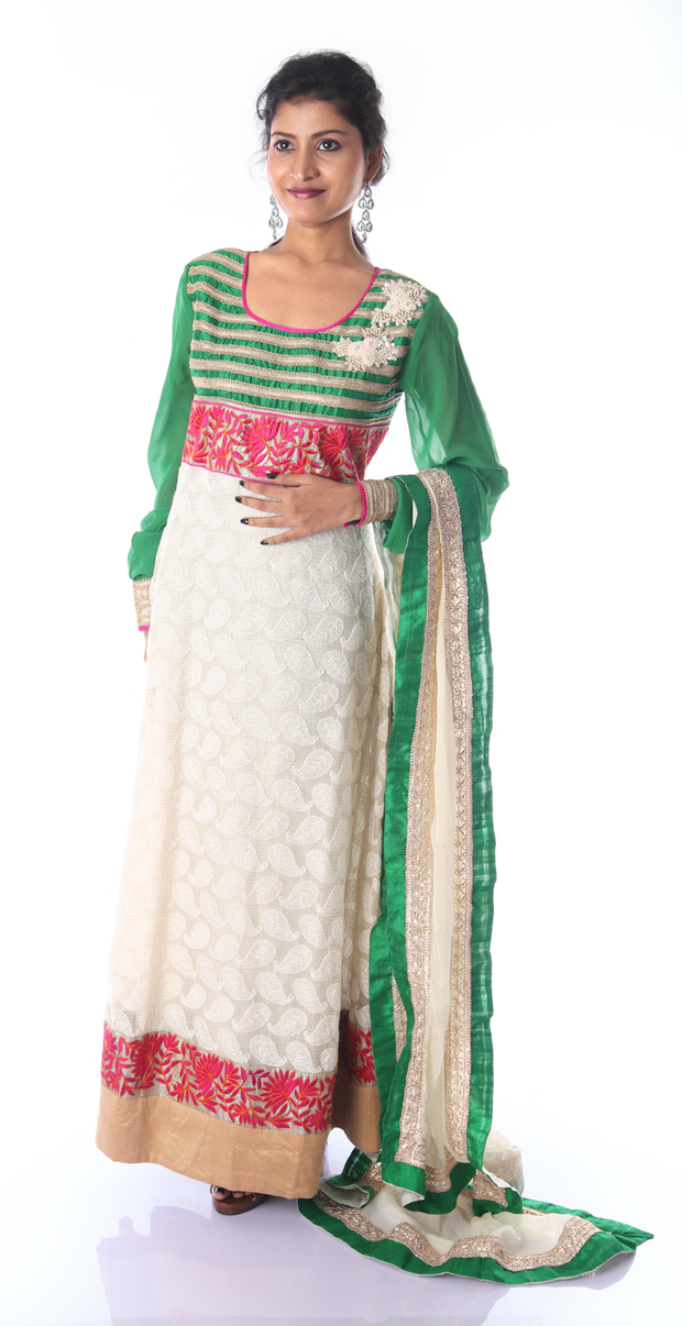 SIGNORAA GREEN AND WHITE KOTA READY-TO-WEAR SALWAR SUIT-SLW03169 - View 1