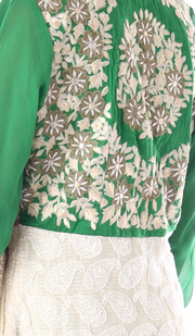 SIGNORAA GREEN AND WHITE KOTA READY-TO-WEAR SALWAR SUIT-SLW03169 - View 2